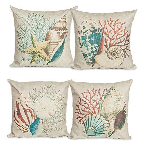 TaoNaisi Juego de 4 fundas de cojín de lino y algodón, diseño de océano, 45,7 x 45,7 cm