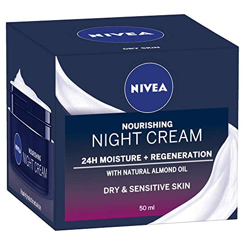NIVEA Daily Essentials Rich Regenerating Face Night Cream with 24 Hour Moisture Boost (50ml), Moisturising Night Cream with Almond Oil & Shea Butter for Sensitive & Dry Skin