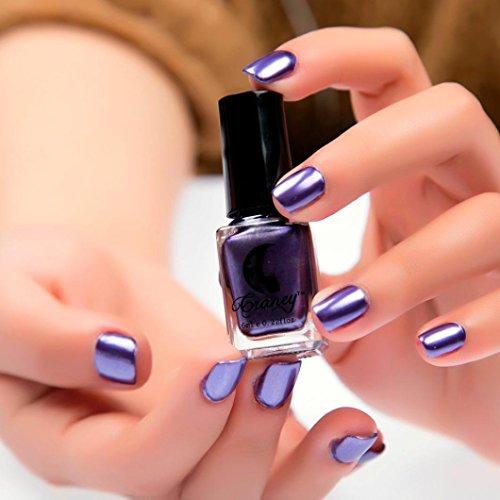 Mirror Silver Nail Polish,Vovomay Nail Cuticle Guard Skin Protector UV/LED Gel Nail Polish Nail Polish Plating Metal Color (Purple)