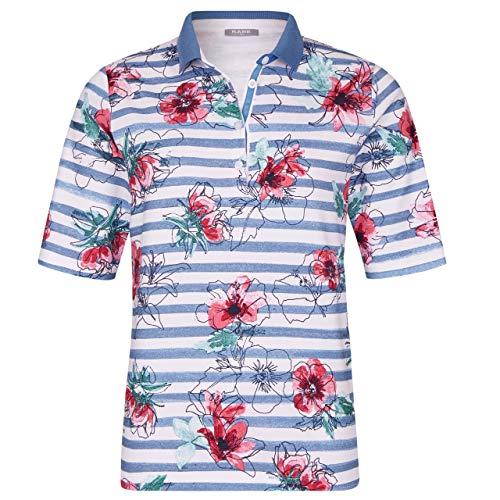 Rabe Damen Poloshirt gestreift mit Blumen blau/Weiss/rosa - 38