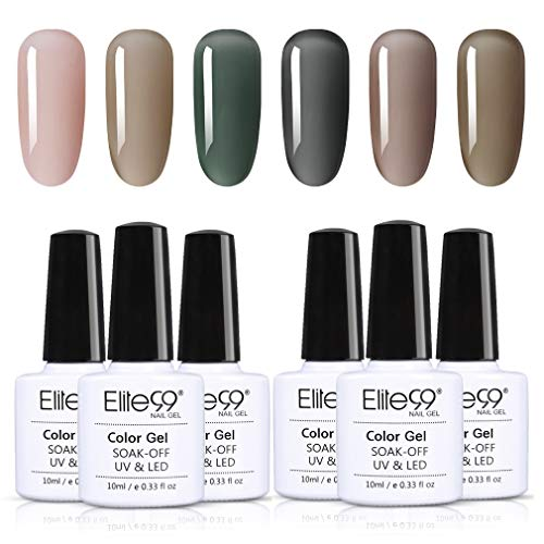 Elite99 Galaxie Grau UV Nagellack Set, Gel Nägel Starter Kit UV LED Soak Off Gel Polish Nägel Design Set 10ML YHH-6Stück