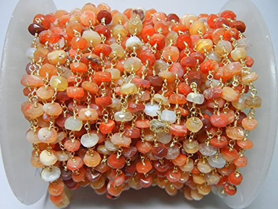 3 feet Natural Mexican fire Opal Bead 6mm 24k Gold Plated Rosary Style Chain by bestinbeads, Natural semi Precious Gemstone Beaded Chain by The Foot, Jewelry Making Chain