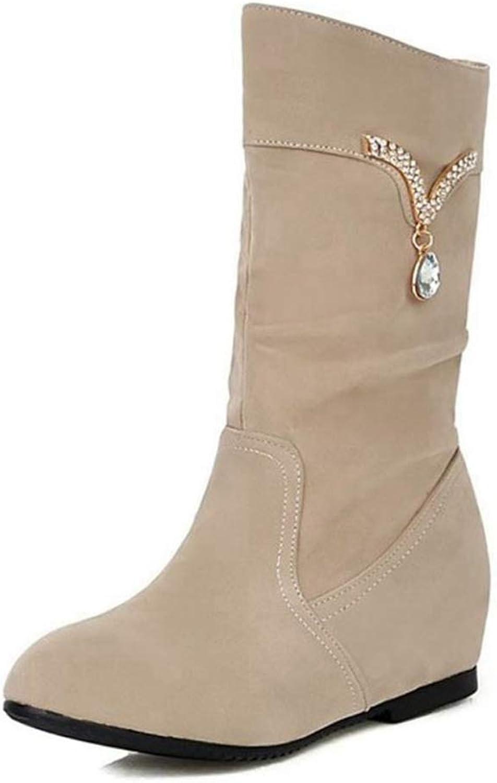 T-JULY Women Flat Boots Half Short Boot Fashion Snow Warm Thickened Fur Plush Winter Mid Calf Boots Footwear Size 34-39