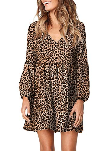 Happy Sailed Womens Sweet Ruffles Long Sleeve V-Neck Loose Swing Shift Dress Leopard T Shirt Dress X-Large Leopard
