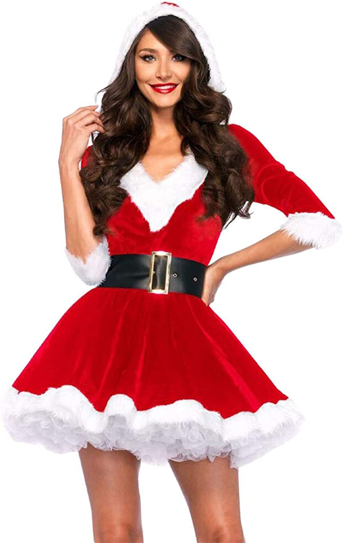 Wanlianer Weihnachtsmann-Kostüm Weihnachtskostüm One Größe Erwachsene Frauen Soft Festival Kleidung Mantel Kleid Weihnachtsfest Kostüm