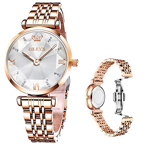 OLEVS Rose Gold Watches for Women in Stainless Steel, Luxury Small Face Woman Waterproof Watch,Lady Wrist Watch Prism Cut Table Mirror Japan Quartz Moment Ladies Watches White Dial,Relojes de Mujer