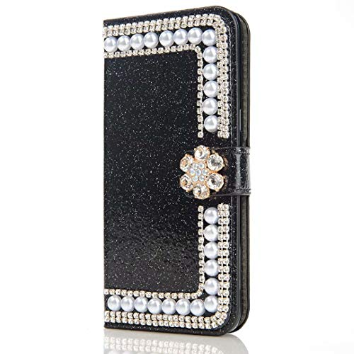 Xiaomi Redmi 9A Funda, 3D Glitter Gems Peals Sparkle Bling Phone Case Cover Cover Shock-Absorption Flip PU Cuero Protector Bumper con Soporte Magnético Ranuras para Tarjetas para Niñas Mujeres Negro