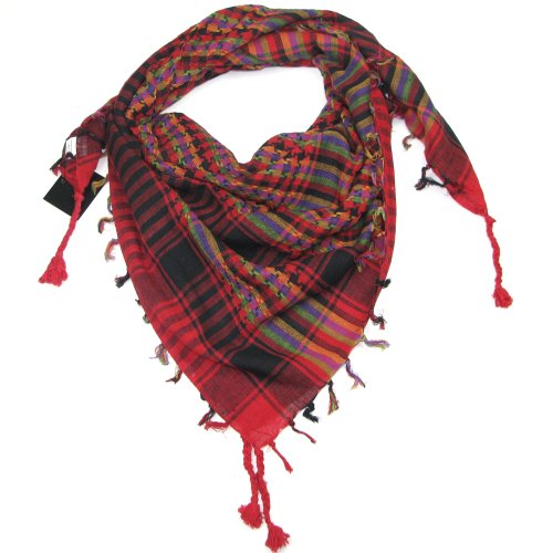 Desert scarf Arabic Colourful Multi Coloured Arab Red Lovarzi - Keffiyeh Shemagh Neck Head Fashion Scarves for Women & Men - Face Scarf Gift for boys and girls