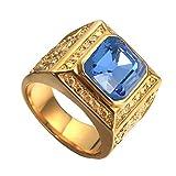 PAURO Hombre Acero Inoxidable Clásico Golden Square Anillo Estilo Chino Dominador DragóN con Grande Piedra Azul Blaro Tamaño 25