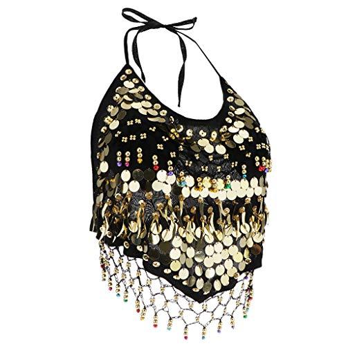 Bonarty Dame Sparkle Sequin Halter Crop Top Sexy Bauchtanz Latin Festival Outfits - Schwarz