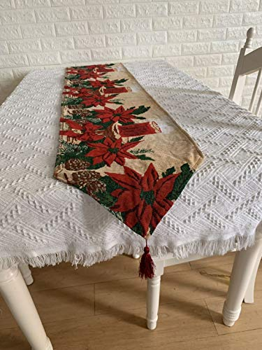 Christmas Decoration Set of 2 - Our Warm Christmas Embroidered Table Runner and Christmas Stocking - Xmas Fireplace Hanging Stockings Decoration - Table Linens