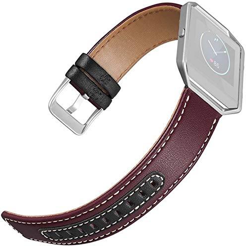 JWWLLT Reloj Correas para Mujeres de Cuero Dos Colores Tejido Reloj de Reloj de Reloj de Reloj con Marco para Fitbit Blaze SmartWatch Soporte Accesorios de Soporte. (Band Color : B)
