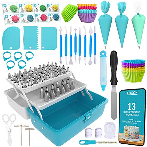 Cake Decorating Tools 246-Piece Piping Bags and Tips Set Cake Decorating Kit with 62 Piping Tips Cake Decorating Supplies with Frosting Tips and Bags Cupcake Decorating Kit Cookie Decorating Supplies