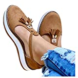 Aniywn Women's Round Toe Flat Heels Buckle Cut-Out Sandal Ladies t-Strap Casual Slip On Platform Walking Shoes Brown