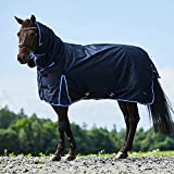 Horze Glasgow Medium Weight Waterproof Combo Turnout Winter Horse Blanket with Neck Cover (150g Fill) - Dark Blue - 78'
