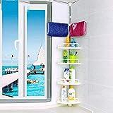 Sisit1 Bathroom Rack Bathroom Shower Storage Corner Caddy Tension Pole, 4-Tier Bathtub Caddies Shelf Rod Organizer Rack with Towel Bar