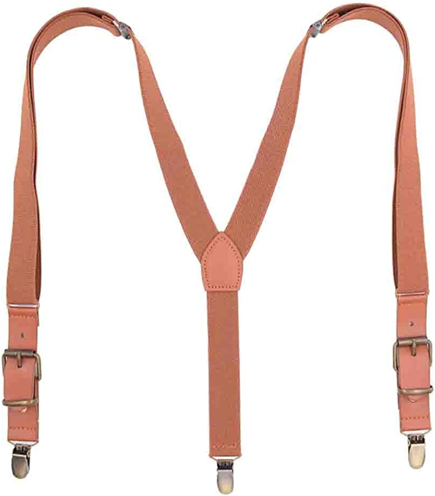 Leather Brown Suspenders for Men, Vintage Wedding Fashion Men's Suspenders for Trousers Y-sharp with 3 Metal Clip Heavy Duty