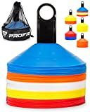 Pro Disc Cones (Set of 50) - Agility Soccer Cones with Carry Bag and Holder for Training, Football, Kids, Sports, Field Cone Markers - Includes Top 15 Drills Book (Multi-Color)