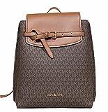 Michael Kors Emilia Brown MK Signature Medium Flap Backpack PVC Leather