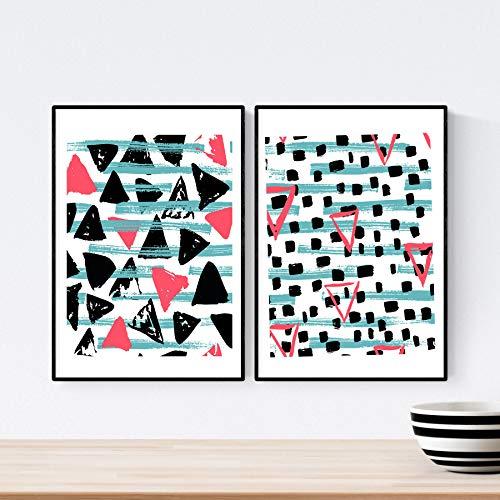 Pack de 2 láminas para enmarcar ESTAMPADOS, modernas, decoracion de interior. Dos posters con imágenes estampadas.Tamaño (A3).