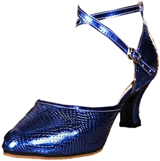 Inlefen Female High Heel Plain Solid Color Buckle Strap Latin Leather Footwear
