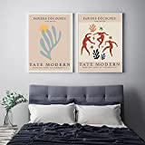 UHYGT Carteles e Impresiones de Matisse Fauvismo Cuadros de Arte de Pared Figura de Danza Abstracta Pintura de Lienzo Minimalista Decoración de Sala de Estar 40x60cmx2 Sin Marco