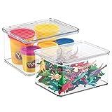 Mdesign juego de 2 organizadores de juguetes con tapa – cajas de almacenaje apilables para guardar juguetes bajo la cama o en las estanterías – juguetero de plástico con tapa – transparente