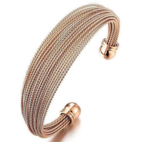 COOLSTEELANDBEYOND Multi-Strang Edelstahl Rotgold Elastische Damen Armband Verstellbare Armreif