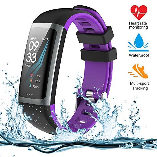 Teamyo Fitness Tracker, Orologio Fitness Braccialetto Schermo a Colori Watch Bracciale Cardiofrequenzimetro da Polso Smartwatch Pedometro Impermeabile IP68 (G26-purple)
