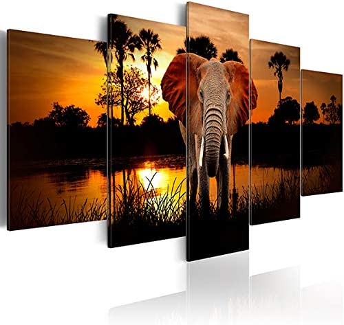 Inzlove African Animal Wall Art Elephant Paintings on Canvas Prints Sunrise Nature Landscape product image