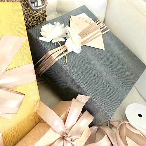 Gray Faux Leather Gift Wrap Paper for Large Presents, 5 Sheets Each 31 Inches by 43 Inches, Thick, Textured, Embossed Premium Paper for Gift Wrapping Corporate Gifts, Holiday Gifts, Christmas Gifts