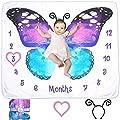 Evovee Baby Monthly Milestone Blanket Girl Butterfly, Baby Month Blanket Age Photo Blanket, Photography Backdrop Newborn Girls Props, Soft Plush Fleece w Marker and Headband New Moms