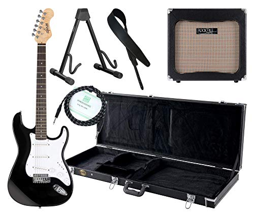 Shaman Element Series STX-100B Komplett Set - E-Gitarre - Modeling-Verstärker - Koffer - Ledergurt - Ständer - Kabel - Schwarz