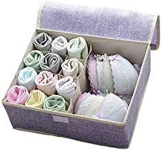 ZQLQU Pure cotton linen clothes storage box durable underwear socks storage box foldable closet storage box dustproof ward...