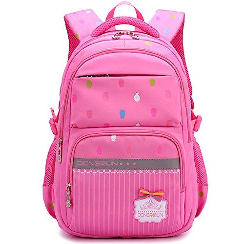 Uniuooi Primary School Bag Backpack for Girls 7-12 Years Old Waterproof Nylon Laptop Bag 20-35L Pineapple Pink