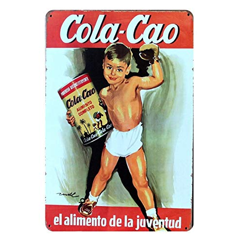 PotteLove Cola Cao Vintage Iron Metal Signs Tin Plaques Wall Art Poster for Garage Man Cave Beer Cafee Bar Pub Club Restaurant Home Decoration