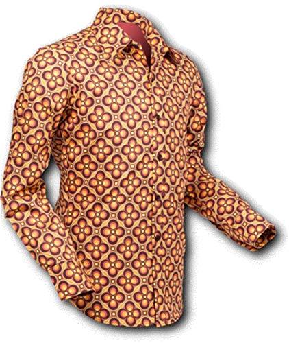Chenaski 70er Jahre Hemd Dotsgrid Brown-orange Größe M