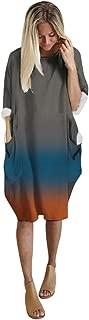 Aotifu 2019 Women's Long Sleeve Loose Plain Dresses Sale Casual Short Dress Oversized Midi T-Shirt Dresse with Pockets