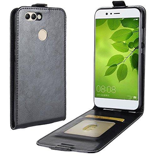 MoEvn Huawei Nova 2 Plus Hülle, PU Leder Schutz Magnetverschluss Handyhülle Premium Geldbeutel Schale Kunstleder Flip Hülle Ledertasche mit Standfunktion Klapptasche für Huawei Nova 2 Plus, Schwarz