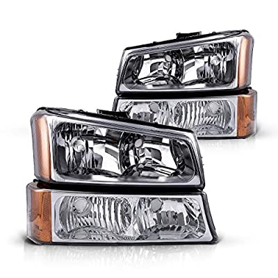 Silverado Headlight from Torchbeam, Replacement Headlight Assembly for 2003-2007 Silverado/Avalanche 1500/2500/3500 Chrome Housing Amber Reflector Smoke Lens Driver and Passenger Side