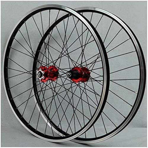 KZEE V-Brake Bike Bicycle Wheelset, 26 Inch Double Wall Aluminum Alloy MTB Rim Disc Brake Quick Release 32 Hole 7 8 9 10 Speed Disc Wheels