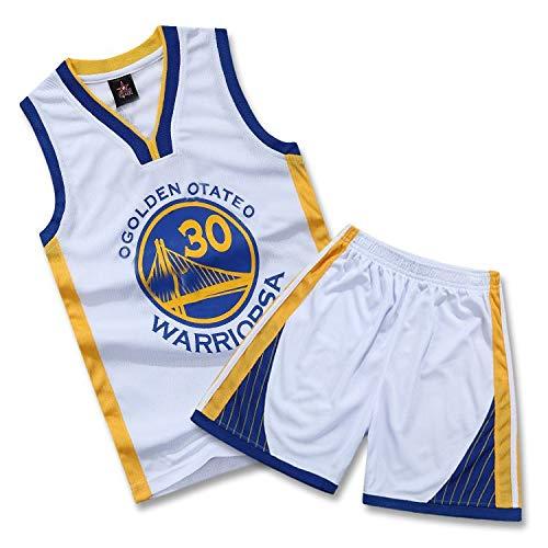 SALLARM Curry # 30 Jersey Golden State Warriors Uniforme de Baloncesto Traje Ropa de Deporte(Blanco,L)