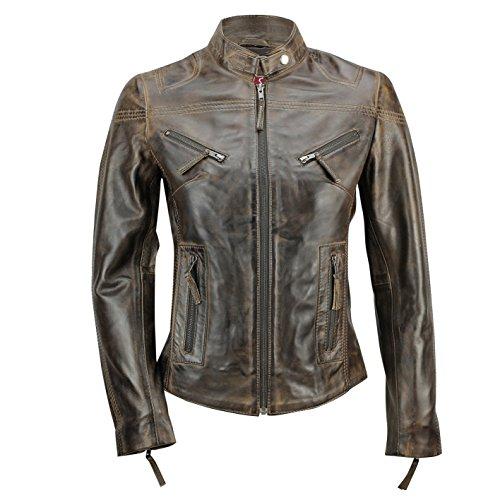 Cazadora vintage de estilo motero para mujer, piel auténtica de color marrón. Tallas de la S a la 5XL