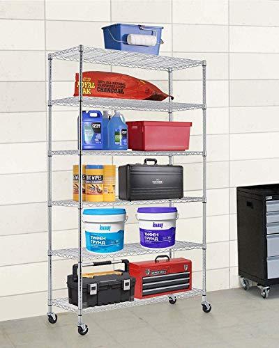Storage Shelves 6 Tier Wire Shelving Unit,Heavy Duty Metal Shelf NSF Wire Rack Metal Organizer with Wheels, Garage Utility Shelf,Organizer Commercial Grade Rolling Steel Rack,48' x 18' x 82',Chrome
