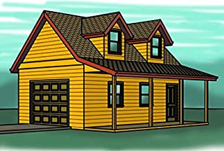 2 story Garage plans with Porch - 1 Car - Storage Loft with Dormers - 16' x 25'