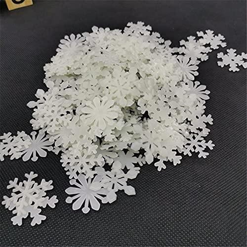 50 Uds 3D luminoso copo de nieve pegatina de pared fluorescente que brilla en la oscuridad calcomanía de pared hogar habitación de niños dormitorio decoración de Navidad blanco