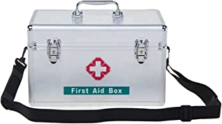 Military Portable Metal Medical Box,with Shoulder Strap,Lockable First Aid Box Lock, Emergency Package Storage Box with Po...