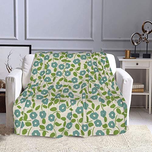KCOUU Couverture polaire 127 × 152 cm Imprimé Calico Floral Bleu Vert Crème Confortable Doux Chaud Couverture décorative pour canapé, lit, canapé, voyage, maison, bureau, toutes saisons