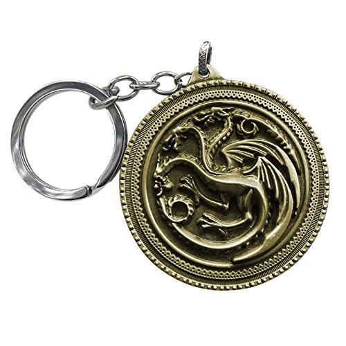 OK-STORE Inspiriert von Game of Thrones Lied von Eis und Feuer Teil der Familie Badge Schlüsselanhänger Ring Three-Headed Dragon Bronze