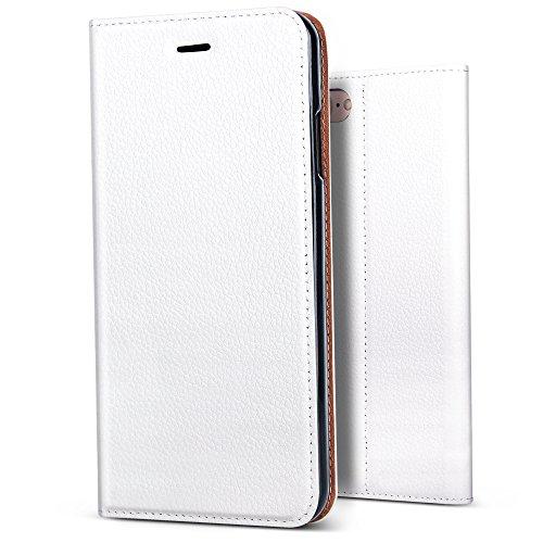 B BELK Premium Soft Leather Slim Wallet Case Classic Magnetic Folio Flip Cover with Credit Card Slots Flexible TPU Bumper Case (White, iPhone 8 Plus/iPhone 7 Plus - 5.5)